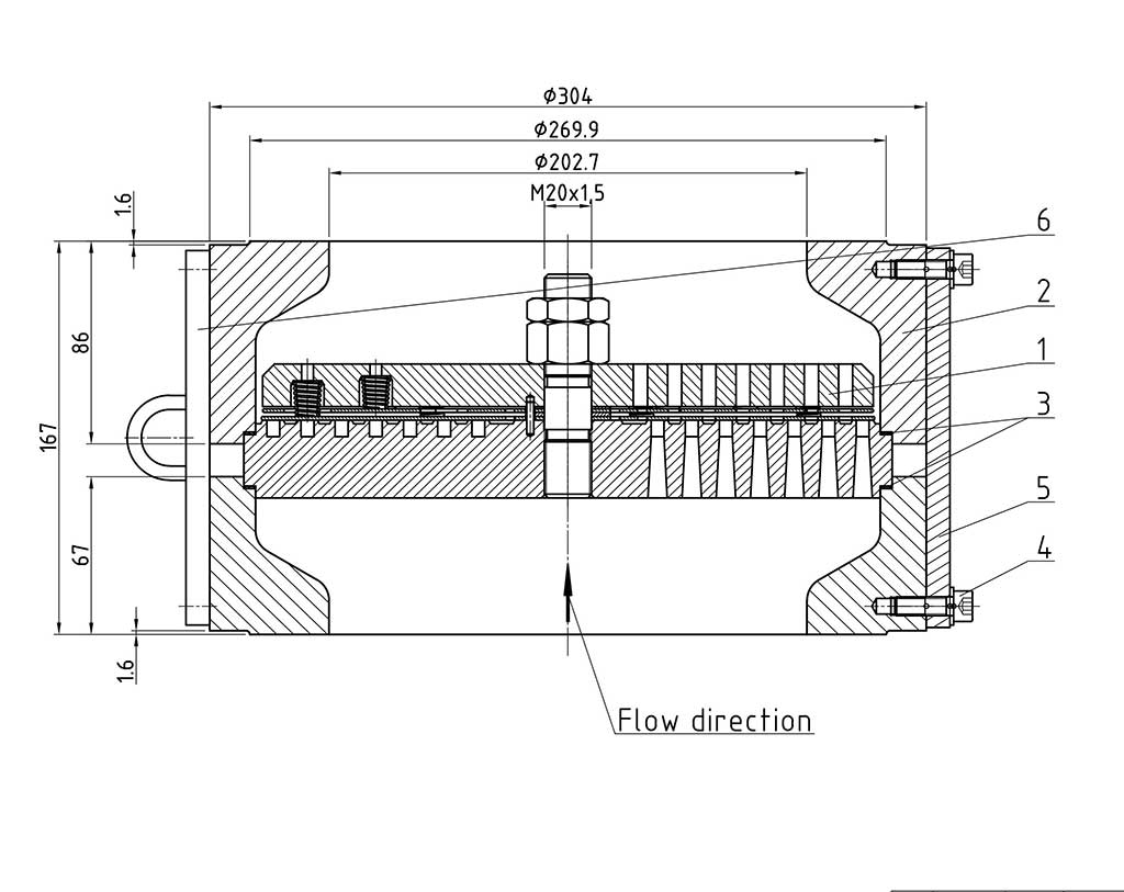 Housing and valve drawing